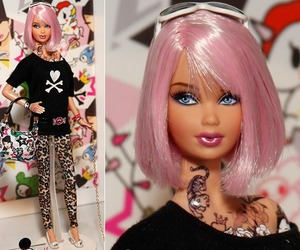barbie, pink, and tattoo image