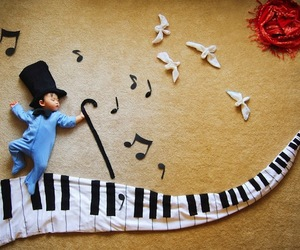 baby, music, and piano image