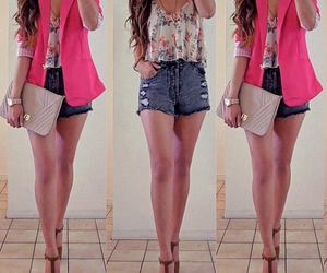 outfit, pink, and shorts image