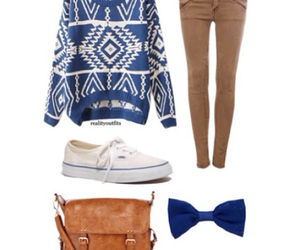 bow, sweater, and blue image