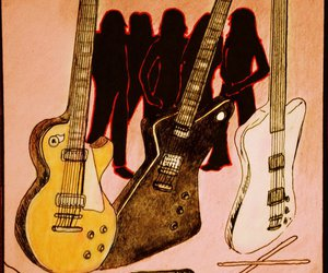 Cherie Currie, drawing, and guitars image