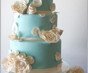 cake, roses, and wedding cake image