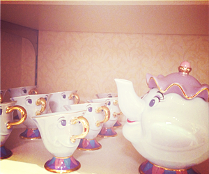 disney, beauty and the beast, and tea image