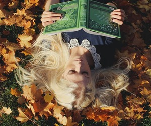 book, autumn, and blonde image