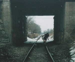 girl, train, and snow image