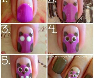 nails, owl, and purple image