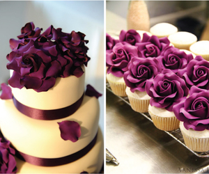 cake, purple, and cupcake image
