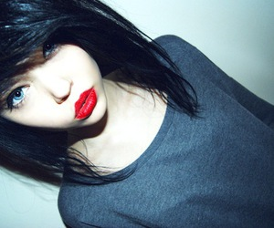girl, hair, and red lips image