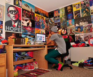 room, boy, and poster image