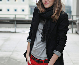 jacket, jeans, and scarf image