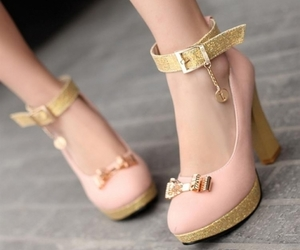 gold, heels, and pink image