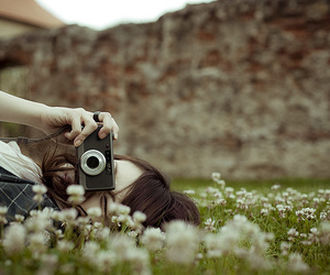 girl, camera, and flowers image
