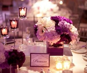 candles, flowers, and wedding image