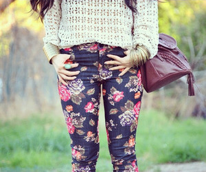 fashion, floral, and bag image