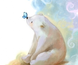 bear, butterfly, and art image
