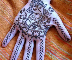 henna, hand, and tattoo image