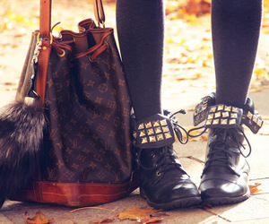 ankle boots, bag, and fur image