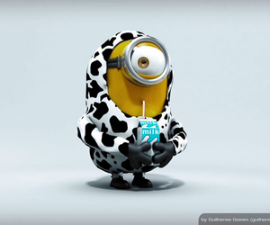 minions, milk, and cow image