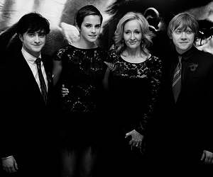 black and white and harry potter image