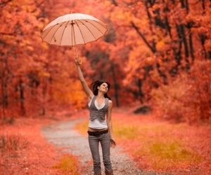 autumn, jump, and umbrella image
