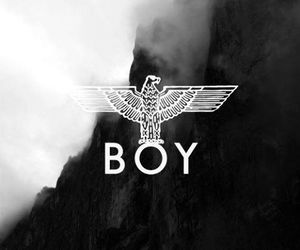 boy, black and white, and eagle image