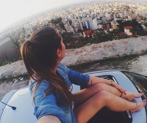 city, girl, and car image
