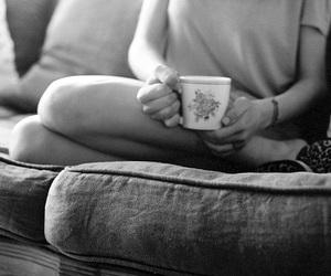 blackandwhite, coffee, and sofa image