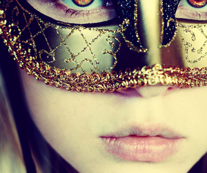 mask, girl, and eyes image