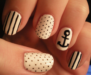 black and white, girly, and nails image