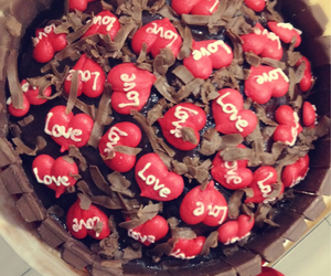 cake, hearts, and kitkat image