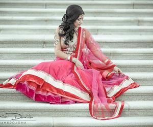 pink, wedding, and indian bride image