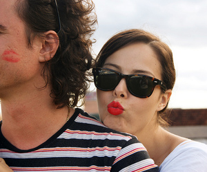 couple, lipstick, and girl image