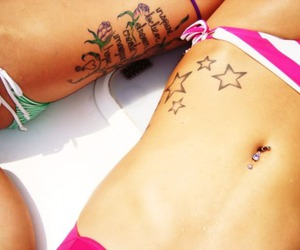 beautiful, tattoo, and bellybutton ring image