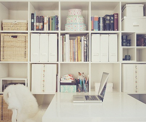 room, white, and books image