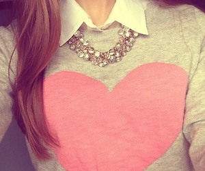 fashion, heart, and sweater image