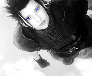 black and white, blue, and crisis core image