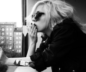 Lady gaga, cigarette, and black and white image