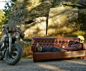 couch, motorcycle, and relaxing image