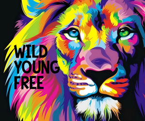 colorful, lion, and text image
