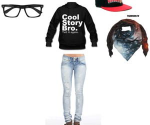 cap, nerd glasses, and outfit image