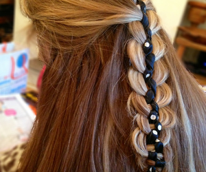 blonde, braid, and ribbons image