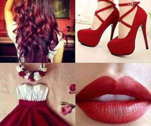red, dress, and hair image