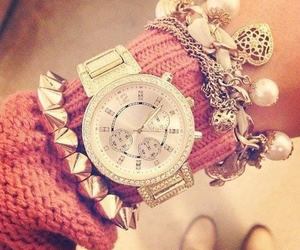 watch, pink, and bracelet image