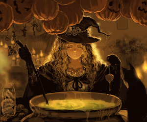 anime, cauldron, and Halloween image
