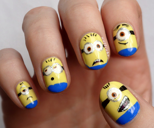 nails, minions, and nail art image