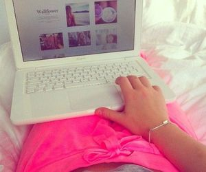 pink, girl, and laptop image