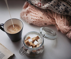 coffee, book, and sweater image