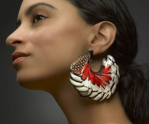 earring, girl, and feather image