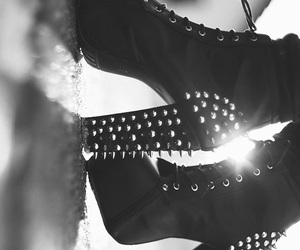 b&w, black and white, and heels image