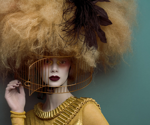hair, cage, and model image